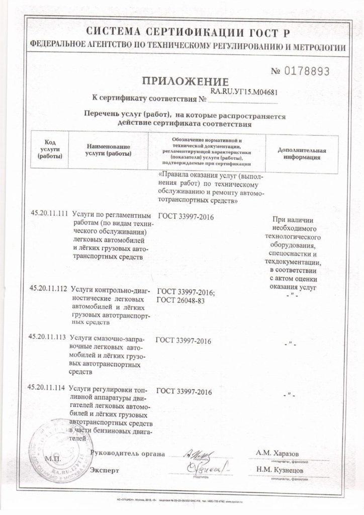 «Сервис-Авто» сертификация гост